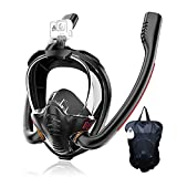HJKB Full Face Snorkel Mask 180° Panoramic Anti-Fog with Dry Top System Anti-Leak Double Tubes Snorkeling Gear with Camera Mount Snorkeling Packages for Unisex Adults Swimming Beginner (Black, S/M)