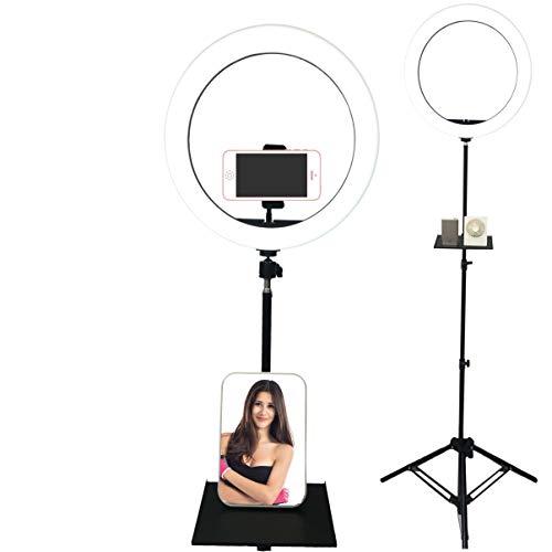 30 cm ringlampa med stående ringlampa för telefonklämma på selfie ringlampa med stativstativ och telefonhållare ringlampa med hylla och spegel