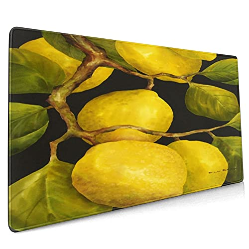 OcuteO Professional Gaming Mouse Pad Yellow Lemon Tree Leaves Art Cool XXL Large Extended Mouse Pad Keyboard Long 35.5 x 15.7 Huge Gamer Mouse Pad Desk Mousepad for Women Latop Computer Waterproof