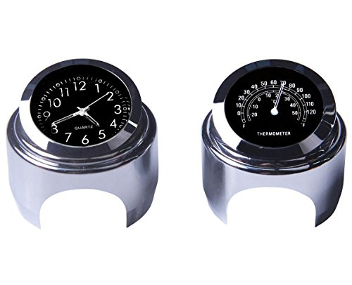 Reloj de manillar de la motocicleta y termómetro 7/8 pulgadas universal Reloj de manillar de la motocicleta impermeable Yamaha Kawasaki Honda Suzuki Harley Davidson (Negro)
