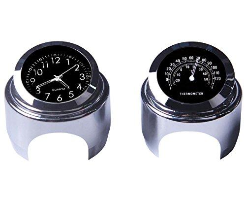 Yooap Universal Motorrad Lenker Uhr & Thermometer 7/8 Zoll Wasserdicht für Kawasaki Honda Suzuki Harley Davidson (Schwarz) (Uhr & Thermometer)