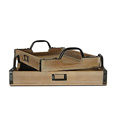 Wooden Metal Handle Serving Tray, Set of 2, (Wrought Iron, Cedar)   by Urban Legacy