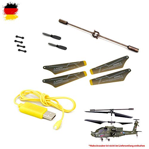 SYMA Ersatzteile-Set Crash-Kit Apache S109, S109G, RC Ferngesteuerter Hubschrauber, Modellbau, Helikopter, Rotorblätter, USB-Ladekabel, Connect-Buckle UVM.