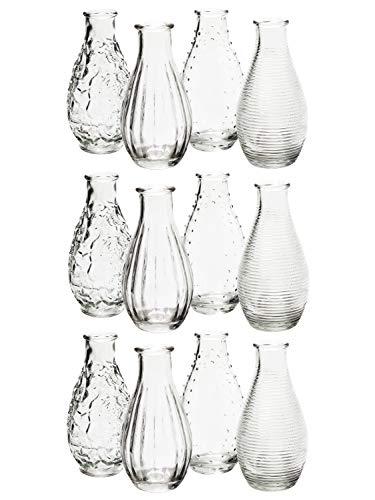 MIK Funshopping Dekoflaschen Vase Fläschchen aus Glas Decor 14 x 7 cm (Klar, 12)