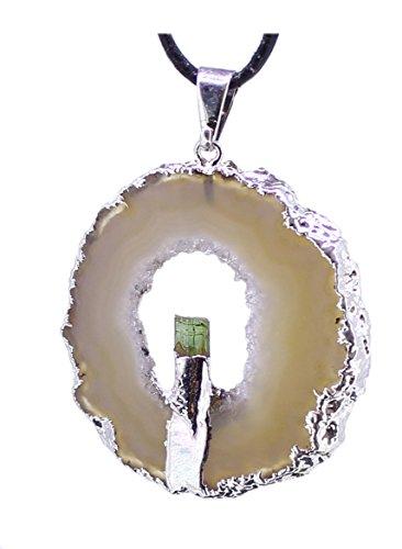 Anhänger Achat Geode mit grüner Turmalinspitze, Glücksgeode mit Kristallen