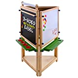 US Art Supply Cardiff Children's Art Activity Easel with Easel Paper Roll, 2 Large Storage Bins and Now 6 No-Spill Child's Paint Cups and Lids