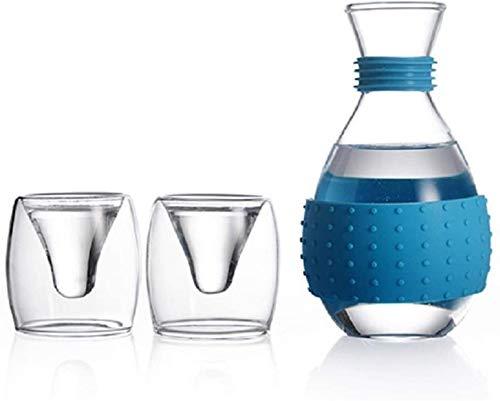 Wall Spotlights~mwsoz Sake-Set Botellas y Juegos de sakeSake Juego de 3 Piezas Diseño de Taza único Vidrio Chino Pintado a Mano Artesanía Retro Tradicional Azul