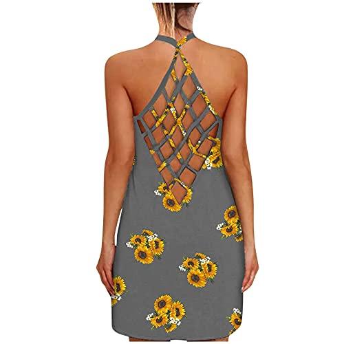 Vestidos sin mangas de espalda abierta para mujer sexy ahuecado camisola mini vestido de verano casual ajuste suelto lindo sin espalda vestido halter