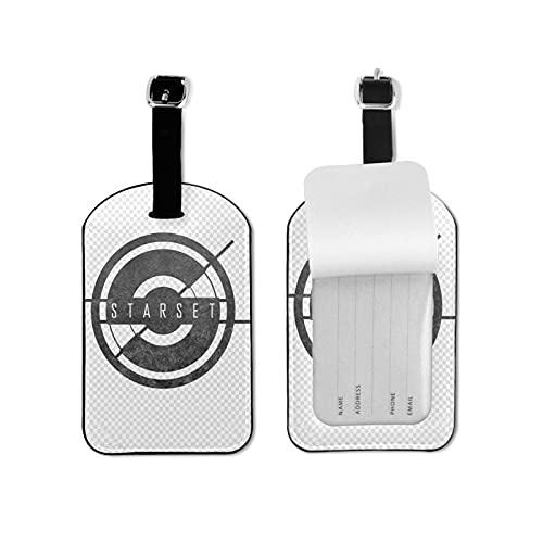 Starset Rock Etiquetas de equipaje de cuero personalizado maleta Tag Set equipaje ID etiquetas etiquetas de viaje accesorios