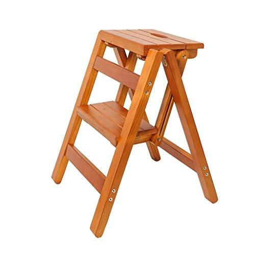 Xiao Jian – multifunctionele trapladder, 2 loopbanden voor de keuken, van massief hout, hoge ladder, draagbaar, bloem, inklapbaar, trappen, 38 x 42 x 52 cm