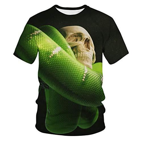 KurzäRmliges 3D-Digital Bedrucktes SchäDel-Rot-LäSsiges Rundhals-T-Shirt Von Summer Men
