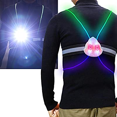 Reflective Running Vest,with Running Lights Rechargeable,Non-Slip Off Multicolored LED Fiber Optics Light Pipe Adjustable Reflective Running Gear(Women Men Kid for Jogging&Biking&Running) (L-Men)
