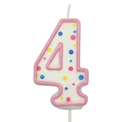 PME CA084 Kerze, Rosa, Nummer 4, Kunststoff, Pink, 4 x 1 x 6.3 cm