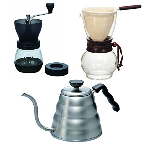 Hario VD Wasserkocher, Drip Pot Woodneck–und Kaffee Mühle–3Produkte zusammen