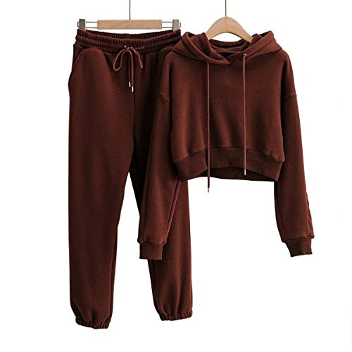 Women 2 Piece Outfit Tracksuit Matching Drawstring Hooded Crop Top and Elastic-Waist Sweatpants Jogger Pants Brown