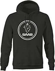 THEME: Saab Mens Sweatshirt - XLarge Charcoal 50% Cotton / 50% Polyester, Comfort Fit Machine Washable Mens Hooded Sweatshirt Your Favorite Comfortable Hoodie This Winter Fleece makes a Great Gift For Men