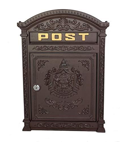 Briefkasten braun Englischer Postkasten Antik Stil aus Aluguss zur Wandmontage Nostalgie Standarformat für Briefe bis Großbriefe