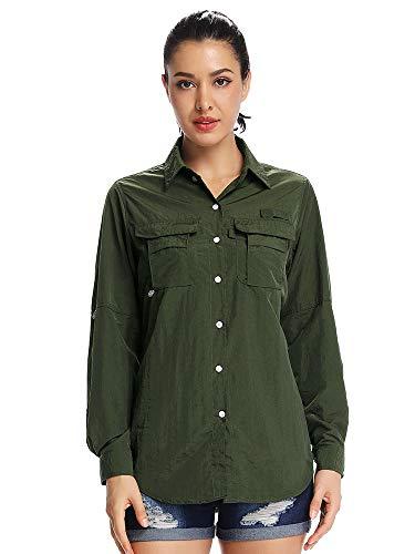 Women's UPF 50+ UV Sun Protection Safari Shirt, Long Sleeve Outdoor Cool Quick Dry Fishing Hiking Gardening Shirts (5055 Army Green XXL)