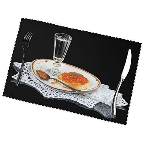 Affordable shop Serviettenteller Löffel Brot Kaviar Rot Kaviar Sandwich Tischsets für Esstisch, waschbar, hitzebeständig (30,5 x 45,7 cm), 6er-Set