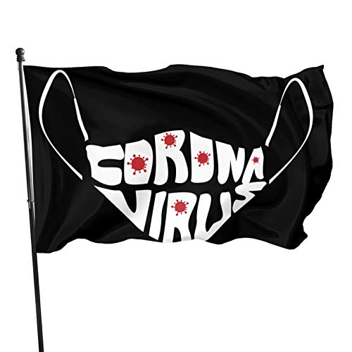 Zadpbb Coro-Navi-Rus Lettering Text in Mask 3x5 Ft Outdoor Decorative Flag Easy to Install Durable
