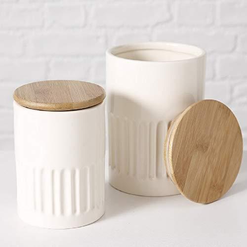 Home Collection Maison Cuisine Ameublement Accessoires Ensemble de 2 Pots en Grès Porcelaine Blanche et Chapeau en Bambou H 14-17 cm