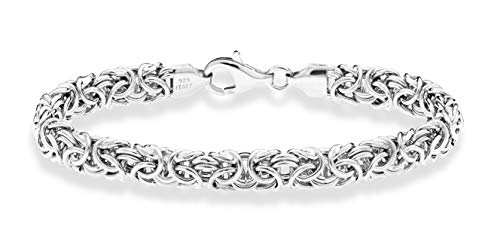 Miabella 925 Sterling Silver Italian Byzantine Bracelet for Women 65 7 725 75 8 Inch Handmade in Italy 70 Inches