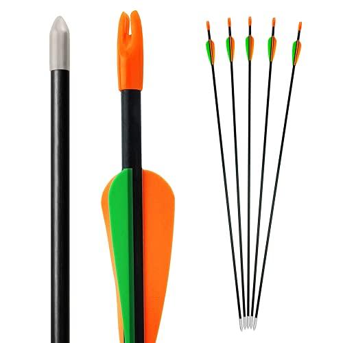 Bogenkönig Pfeile für Bogenschießen 5er Set aus Fiberglas mit Spitze Metal Kinder Bogen 28 Zoll