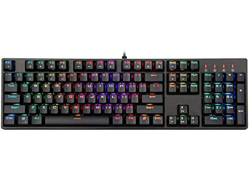 1STPLAYER RGB Gaming Mechanical USB Wired Keyboard DK5.0 with Cherry MX Blue Switches Equivalent, 104 Keys LED RGB Backlit Computer Laptop Keyboard for Windows Mac PC Gamers