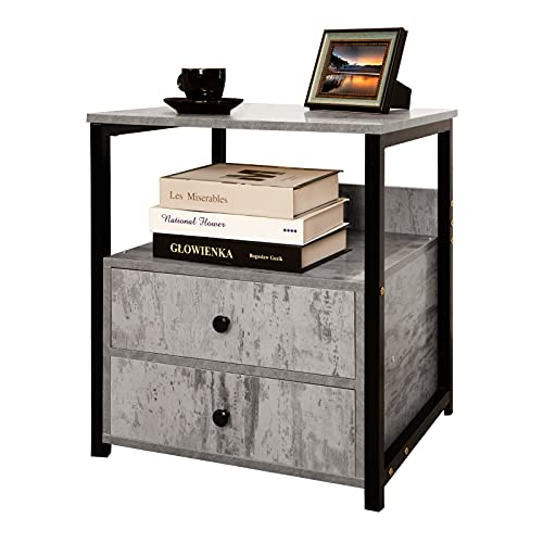 Nightstand, Bedside Table with 2 Drawer, Retro Stone Grey Sofa End Table with 2 Storage Shelves, Industrial Side Table for Bedroom, Living Room, Office, Modern Bedside Closet Organizer, Gray/Black