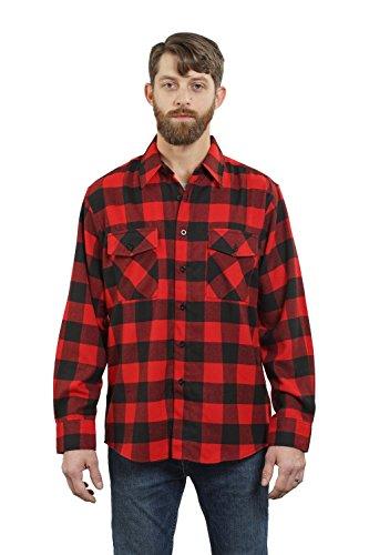 YAGO Men's Long Sleeve Flannel Plaid Button Down Shirt YG2508 (Red/Black, Large)
