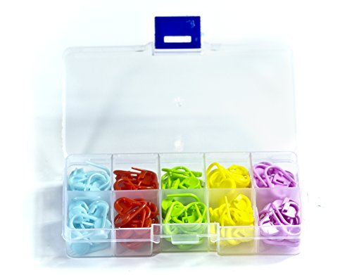 ALL in ONE 150 pcs Multi-colored Locking Stitch Markers Knitting Stitch Counter Crochet Stitch Needle Clip Safety Pin with Box (Mixed Color-150pcs)
