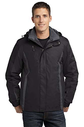 Port Authority Men's Colorblock 3 in 1 Jacket M Black/Black/Magnet Grey