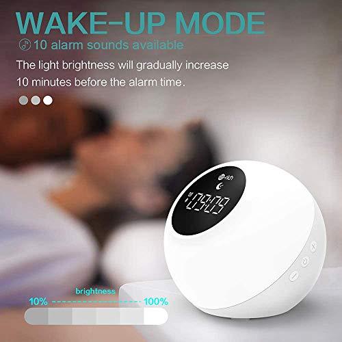Lampe Réveil Enfant Rechargeable avec Haut-parleurs Bluetooth, Te-Rich Réveil Lumineux Portable avec Contrôle Tactile, Snooze, 7 Couleurs, 10 Sonneries, 6 Sons Hypnotiques pour Fête/Anniversaire/Noël