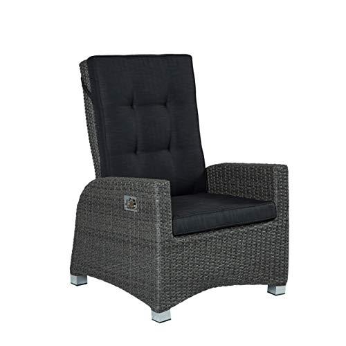 Wholesaler GmbH Barcelona Living Gartensessel XL Sessel für den Garten oder Terrasse - Gartenmöbel Rocking Chair Terrassensessel Poly Rattan grau mit Verstellbarer Rückenlehne und Kissenauflagen