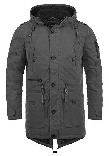 !Solid Davido Herren Winter Jacke Parka Mantel Lange Winterjacke gefüttert mit Kapuze, Größe:M, Farbe:Dark Grey (2890)
