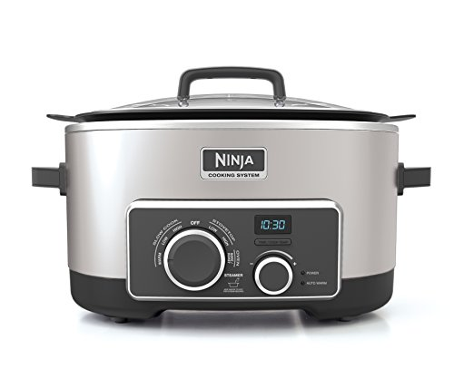 Ninja Multi-Cooker with 4-in-1 Stove Top, Oven, Steam & Slow Cooker Options, 6-Quart Nonstick Pot, and Steaming/Roasting Rack (MC950ZSS), Stainless