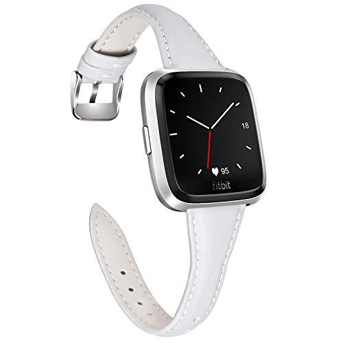 Fullmosa Kompatibel mit Fitbit Versa/Versa Lite/Versa Special Edition Armband, Schmal Lederarmband, für Damen und Herren 23mm Weiß