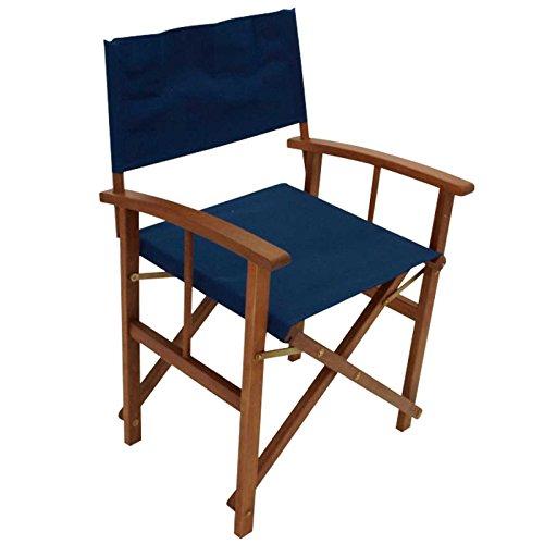 Regiestuhl SPRINGFIELD 2-er Set, Eukalyptusholz, Bezug dunkelblau, FSC®-zertifiziert Stuhl Sessel