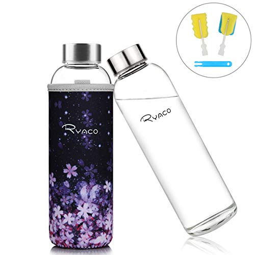 Ryaco Botella de Agua Cristal 550ml, Botella de Agua Reutilizable 18 oz, Sin BPA Antideslizante Protección Neopreno Llevar Manga y Cepillo de Esponja (550ml, Romantic Sakura)