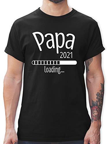 Vatertagsgeschenk - Papa 2021 Loading - L - Schwarz - Papa Geschenk - L190 - Tshirt Herren und Männer T-Shirts