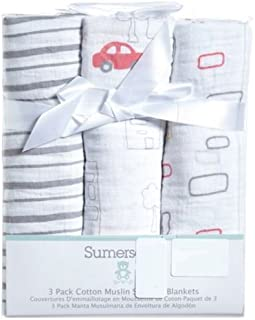 Sumersault 100% Cotton Muslin Swaddle Blanket - Various Colors Available - 3 Pack (Cars)