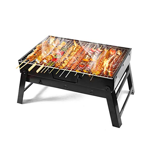 Kono BBQ Grill Portable Folding Charcoal Stainless Steel Desk Tabletop Barbecue Grill for Garden Terrace Hiking Picnics Party (Small)