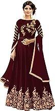 Smily Creation Women's Taffeta Silk Embroidered Long Anarkali Gown for Women