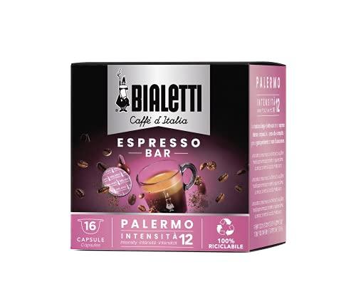 "BIALETTI - Café Palermo – 16 cápsulas Mokespresso ""I Caffè d'Italia"" – Café Intensidad extra fuerte – Aroma cacao muy Amer"