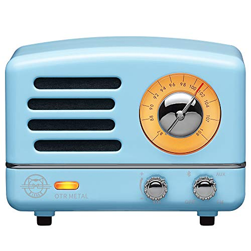 Retro Bluetooth Speaker, MUZEN OTR Vintage Wireless FM Radio with Loud Volume, Portable Bluetooth Speaker,Gift for Family Friend Birthday Holiday Outdoor Home Décor Camping Car - Sky Blue