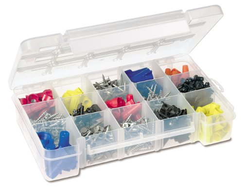 Akro-Mils 05705 Plastic Portable Parts Storage Case for Hardware and Crafts with Hinged Lid and 4 Adjustable Dividers, (8-3/8-Inch x 5-Inch x 1-5/8-Inch), Small, Clear