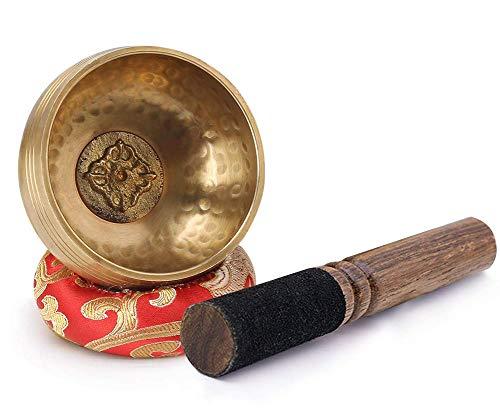 Juego De Cuencos Tibetanos para Cantar, Cuenco De Meditación con Sonido Pequeño De 8Cm con Cojín Y Mazo, para Meditación Curativa De Chakras De Yoga