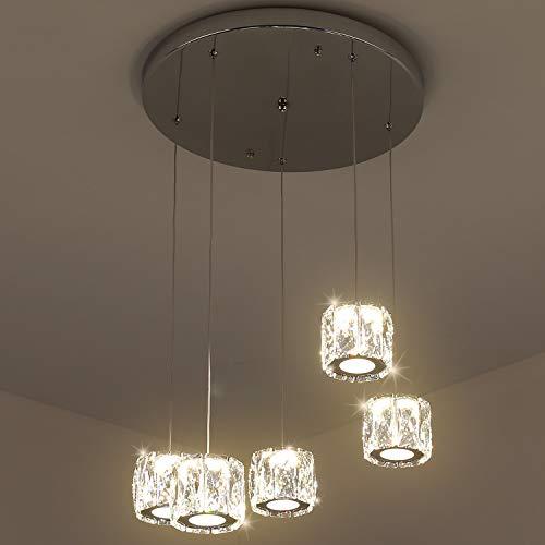 Temgin LED 5 Pendelleuchte Kristall Hängelleuchte höhenverstellbarer Pendellampe moderner Hängelampe für Restaurantküche Korridor warmweißer Kristallleuchter