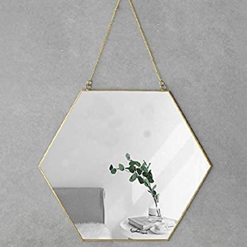 """Foo Foo Hanging Wall Mirror Decor, Gold Mirror Color, Hexagon Mirrors Wall Deco 