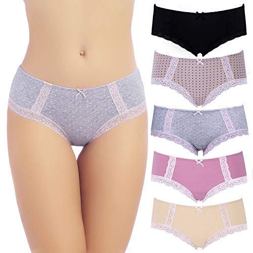 COMSOFT Soft Baumwolle Damen Slip Hipster Unterhosen Damen (Mehrfarbig A, XL)